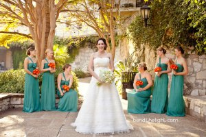 blue green bridesmaid dress